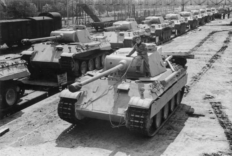 Panzer V Panther Ausf. D medium tanks on rail cars waiting to be shipped to the front, Apr-May 1943