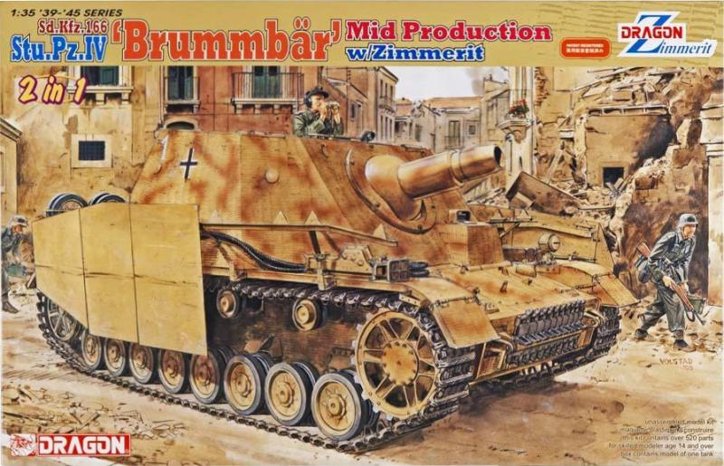 Dragon 6500 Sd.Kfz. 166 Stu.Pz.IV Brummbar Mid Production w Zimmerit 2 in 1; maratások, fém vontatókábel